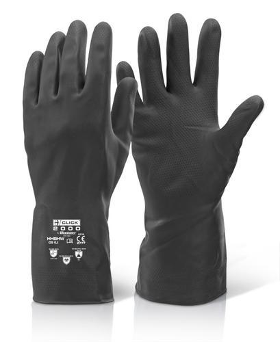 Click 2000 Rubber Gloves House Hold Hw Black M 8/8 .5  Hhbhwm