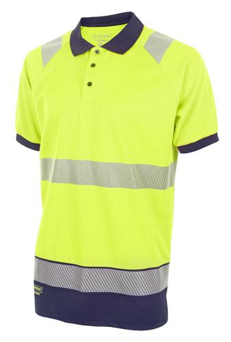 Hivis Two Tone Polo Shirt S/S Sat Yell/Nvy Xxl Hvt t010Synxxl