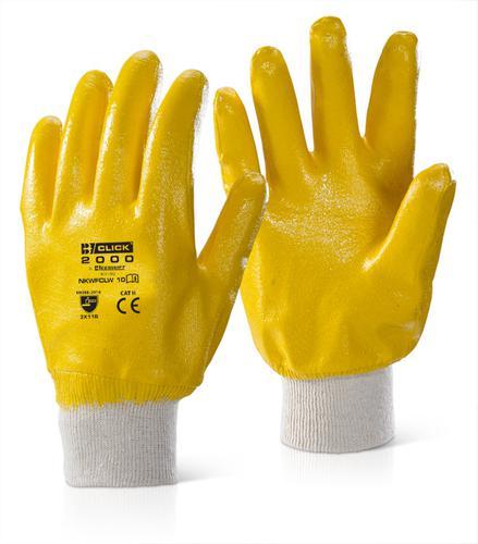 Click 2000 Glove Range - Nitrile K/W F/C L/W Yello w 10 Pk10