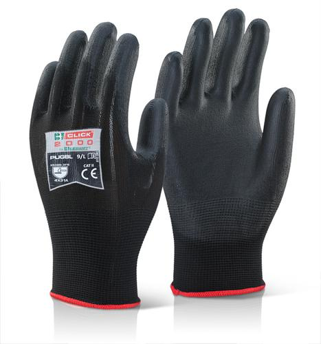 Click 2000 Glove Range - Pu Coated Glove Black Lar ge Pk100