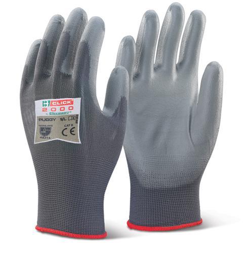 Click 2000 Glove Range - Pu Coated Glove Grey Medi um  Pk100