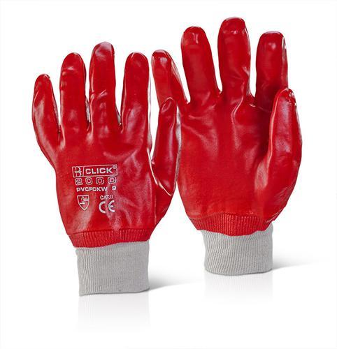 Click 2000 Pvc Gloves - Pvc F/Coated K/Wrist Red S z 9 Pk 10