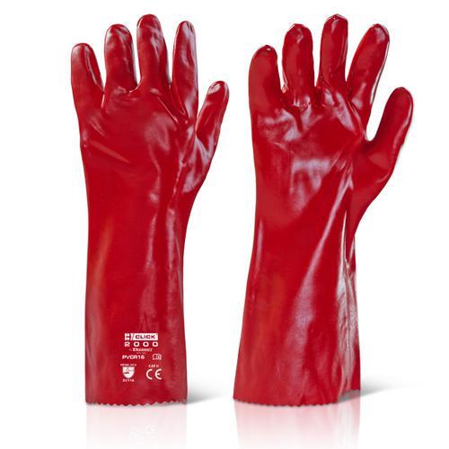 Click 2000 Pvc Gloves - Pvc Gauntlet Red 16   Pk 10
