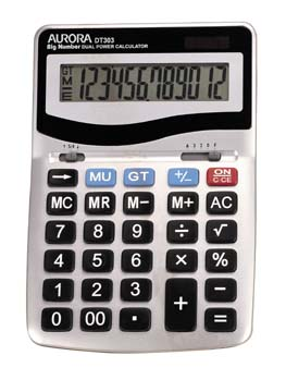 Aurora Calculator Desktop Battery/Solar-power 12 Digit 3 Key Memory 133x198x34mm Ref DT303
