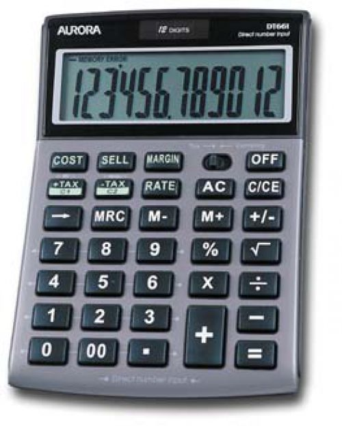 Aurora Semi-Desk Calculator 12 Digit DT661