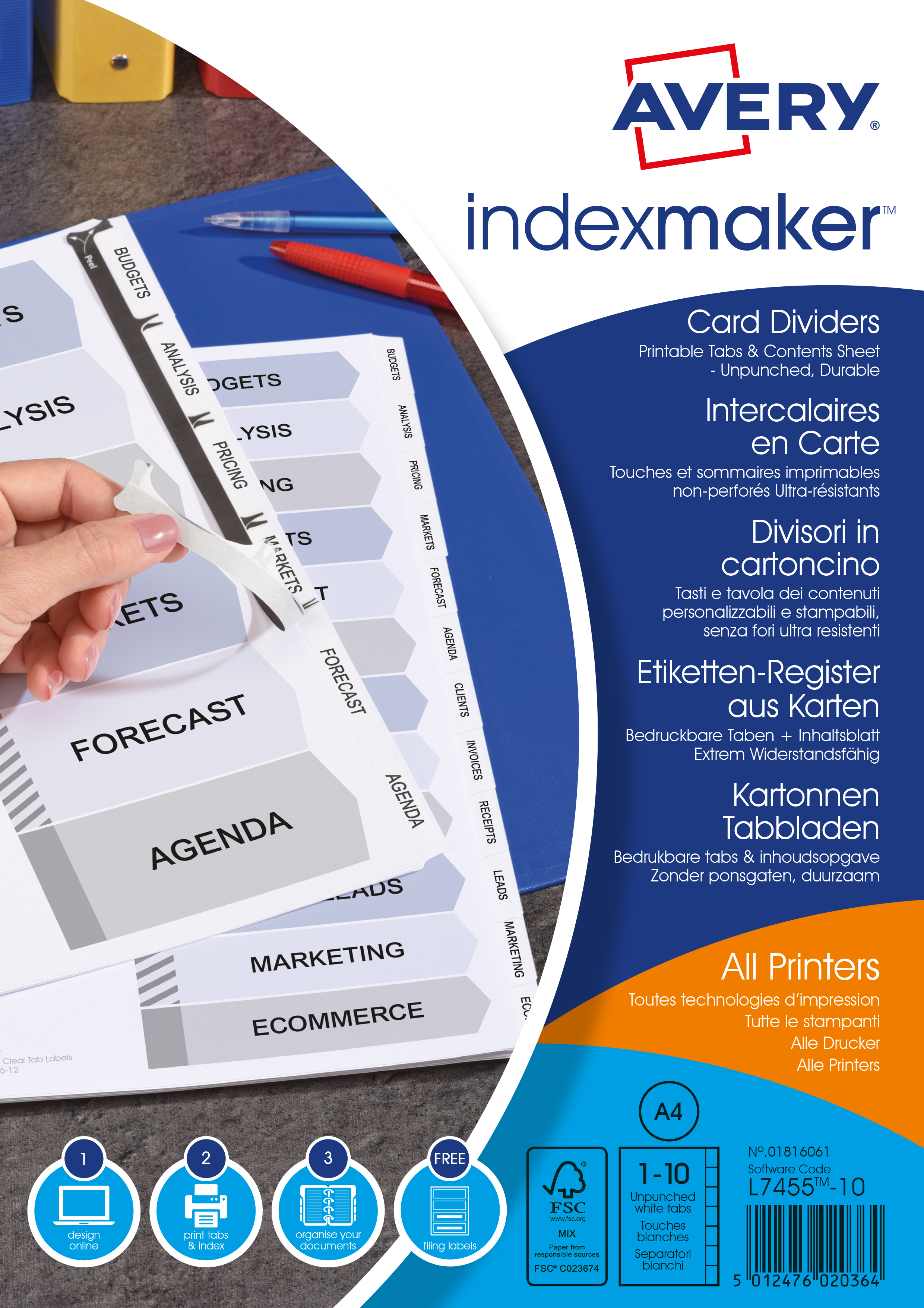 Dividers Avery Indexmaker Divider 10 Part A4 Unpunched 190gsm Card White with White Mylar Tabs 01816061
