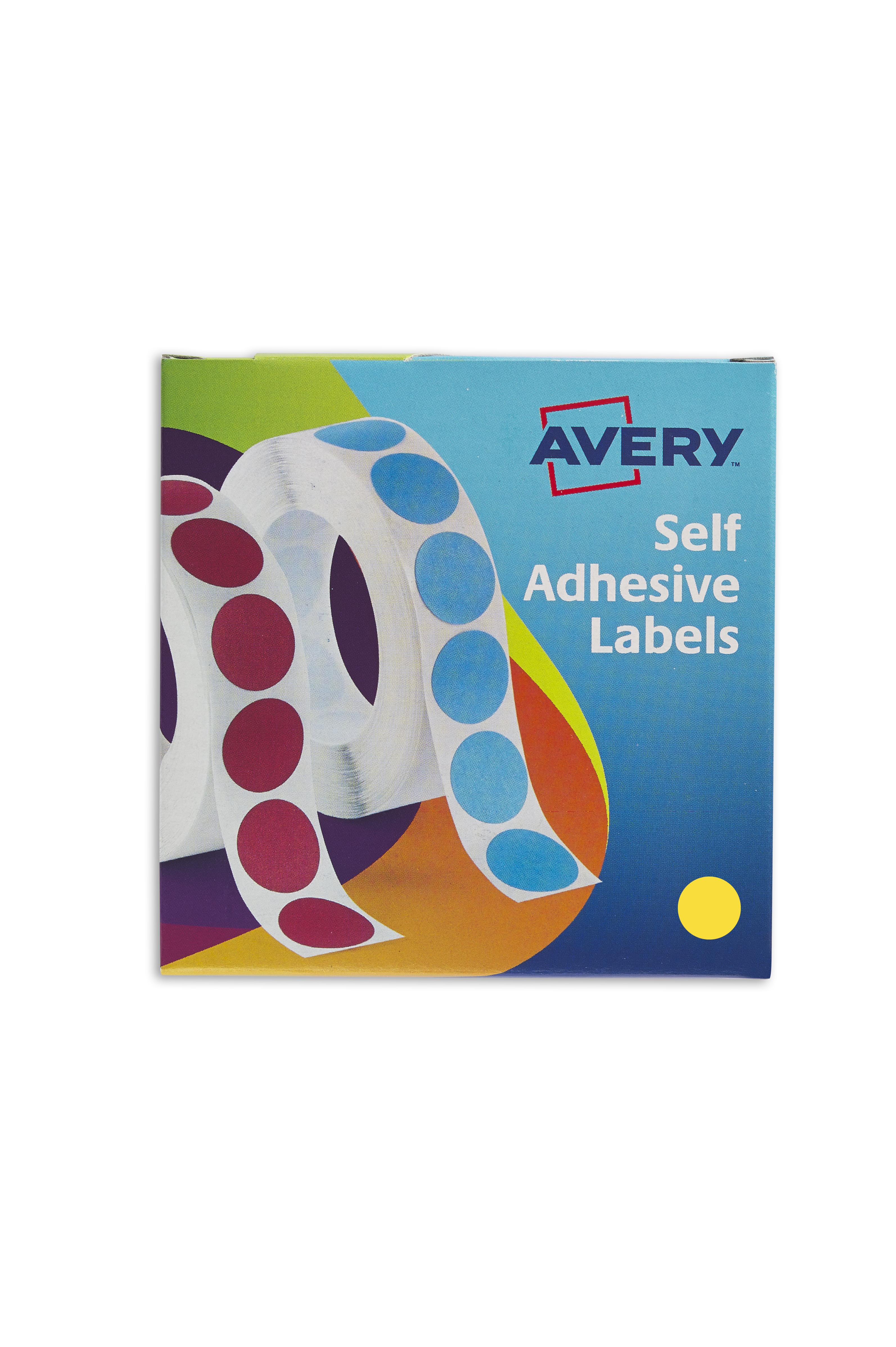 Avery 19mm Dia YL Labels in Disp PK1120