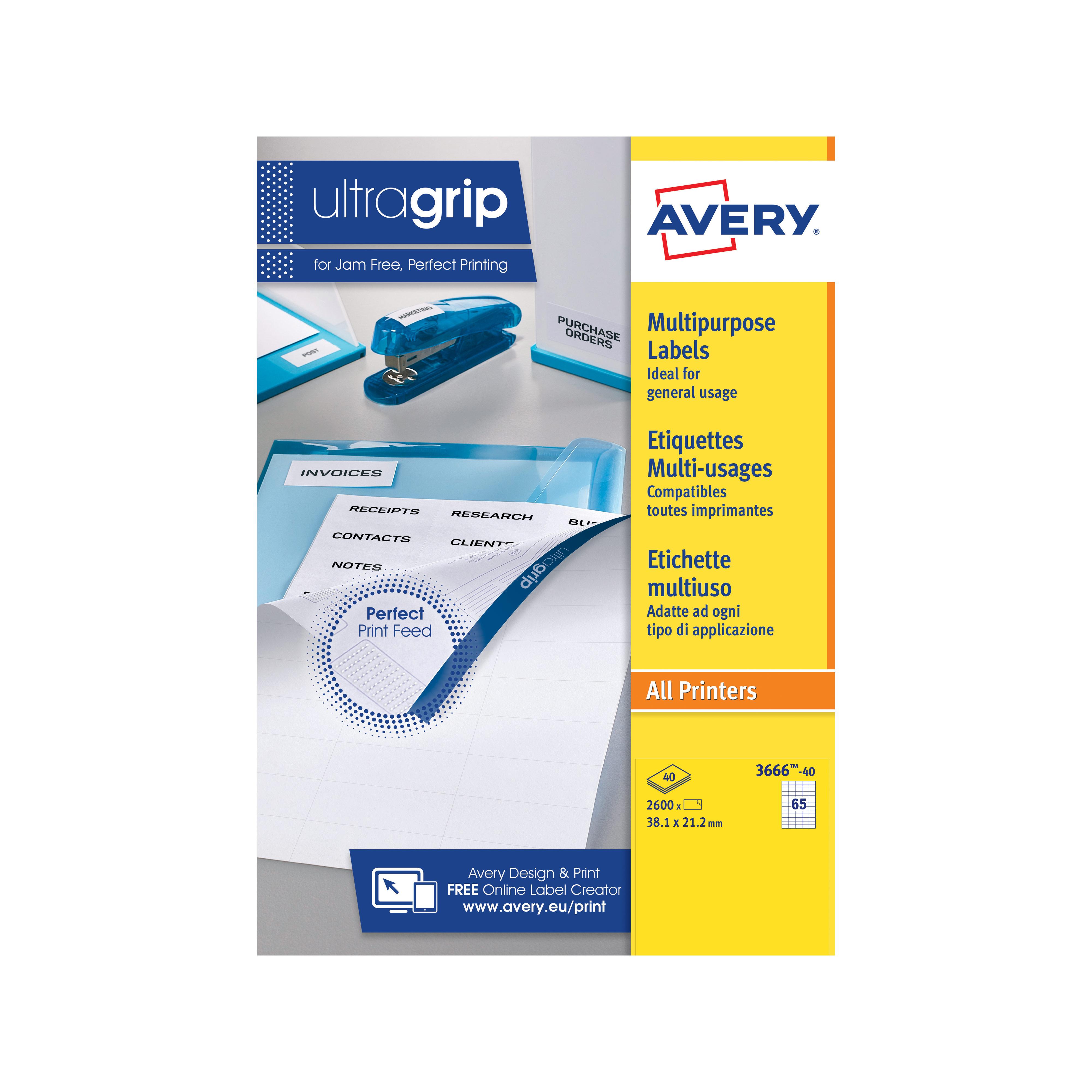 Filing / Media / Retail Avery Multipurpose Labels 38x21.2mm 3666-40 65 p/sht PK2600