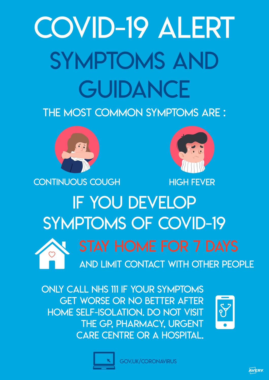 Avery Covid19 Symptoms & Guidance A3 Label 420x297mm Pk2