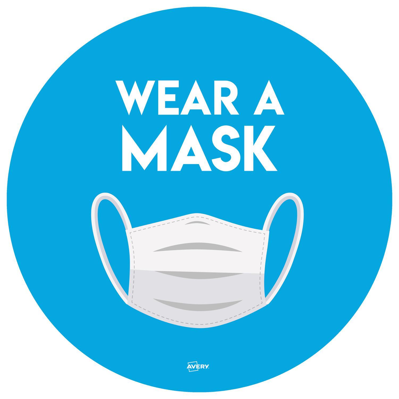 Avery Covid19 Wear A Mask Circular Label 275mm Pk2