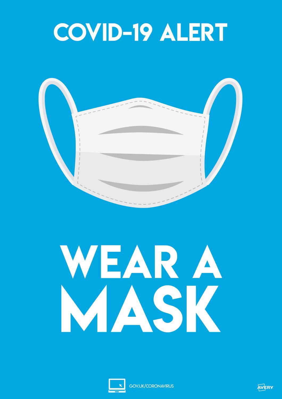 Avery Covid19 Wear a Mask A4 Label 297x210mm Pk2