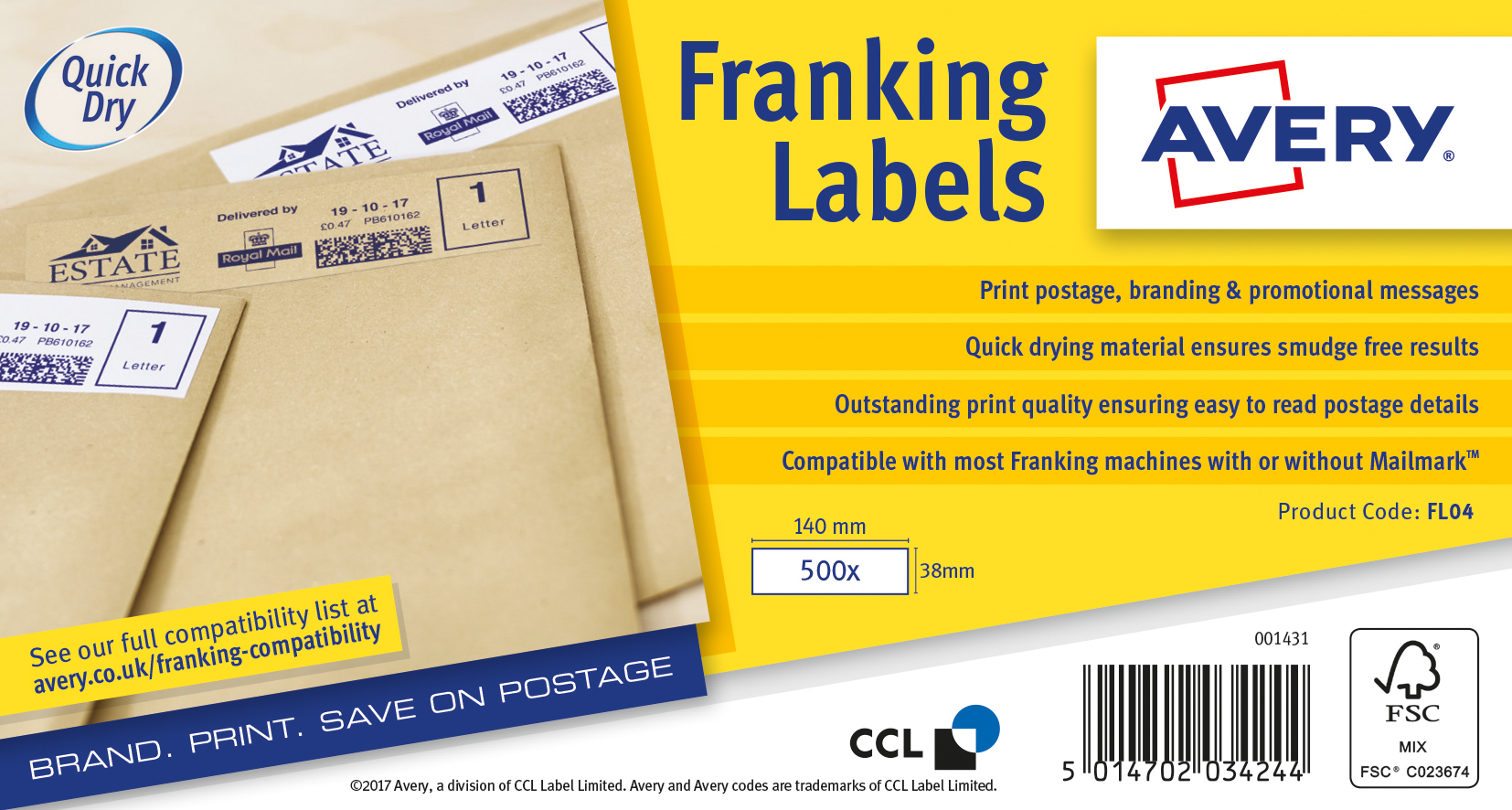 Franking Labels Avery Franking Labels Auto Hopper 140x38mm FL04 (1000Labels)
