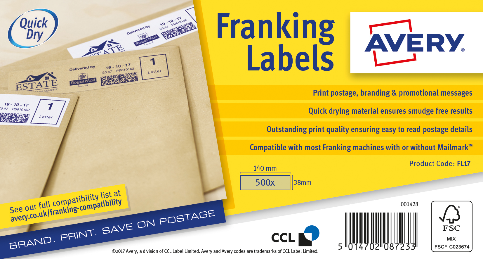 Avery Franking Labels 140x38mm BN PK500