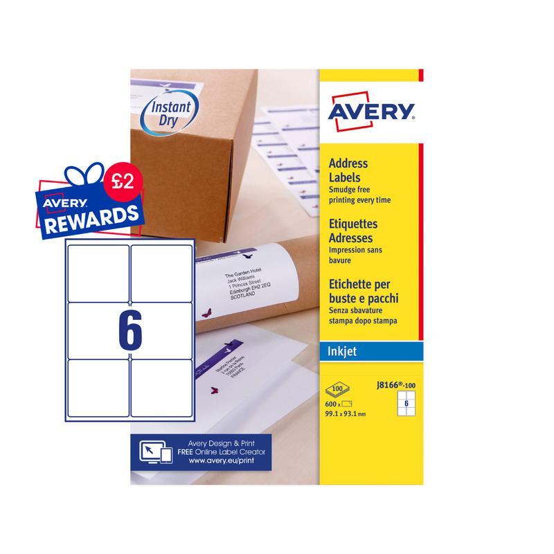 Avery Inkjet Address Label 99x93mm 6 Per A4 Sheet White (Pack 600 Labels) J8166-100