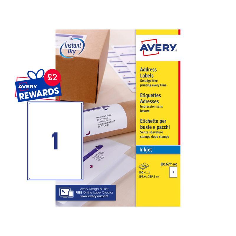Avery Inkjet Address Label 200x289mm 1 Per A4 Sheet White (Pack 100 Labels) J8167-100