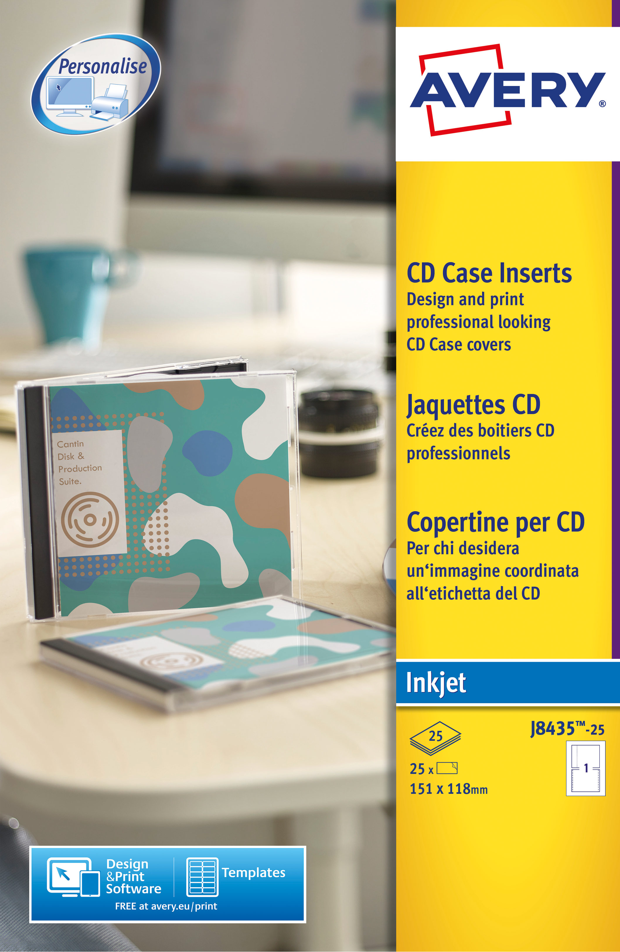 Filing / Media / Retail Avery CD Case Insert Inkjet J8435-25 (25 Labels)