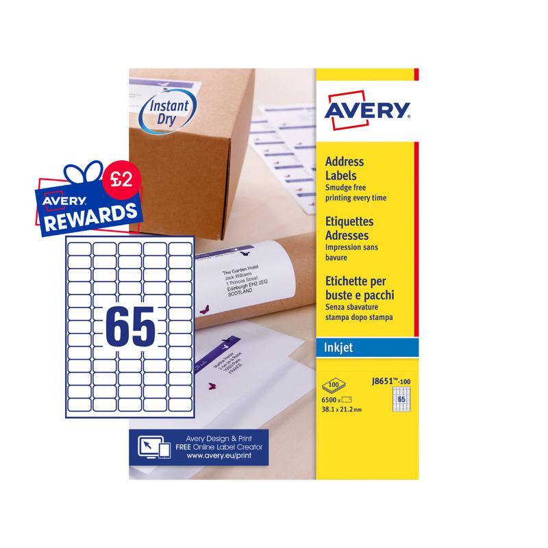 Avery Inkjet Address Label 38x21mm 65 Per A4 Sheet White (Pack 6500 Labels) J8651-100