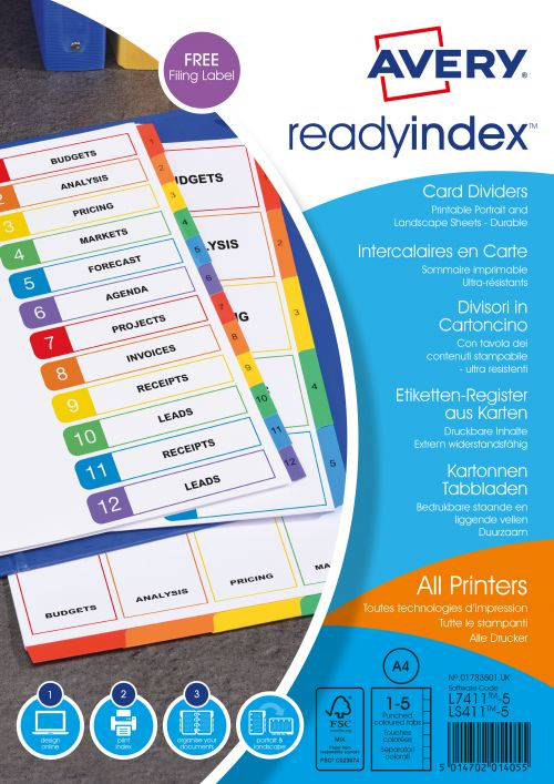 Avery Mylar Readyindex 90gsm 1-5 Punched 01733501