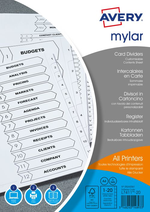 Avery Index Mylar 1-20 Unpunched Mylar-reinforced Tabs 150gsm A4 White Ref 05242061 [Pack 5]