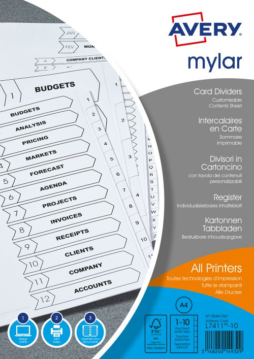 Avery Index Mylar 1-10 Punched Mylar-reinforced Tabs 150gsm A4 White Ref 05461061