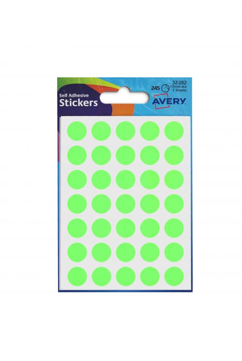 Avery Coloured Label Round 12mm Diameter Green (Pack 10 x 245 Labels) 32-282