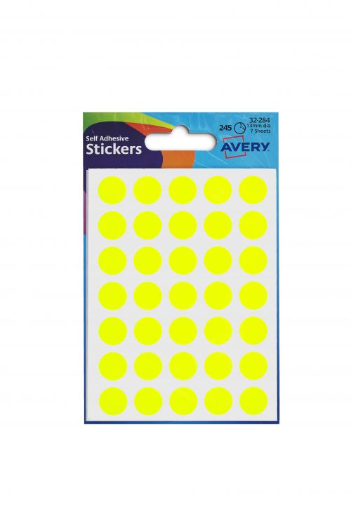 Avery Packets of Labels Round Diam.13mm Neon Yellow Ref 32-284 [10x245 Labels]
