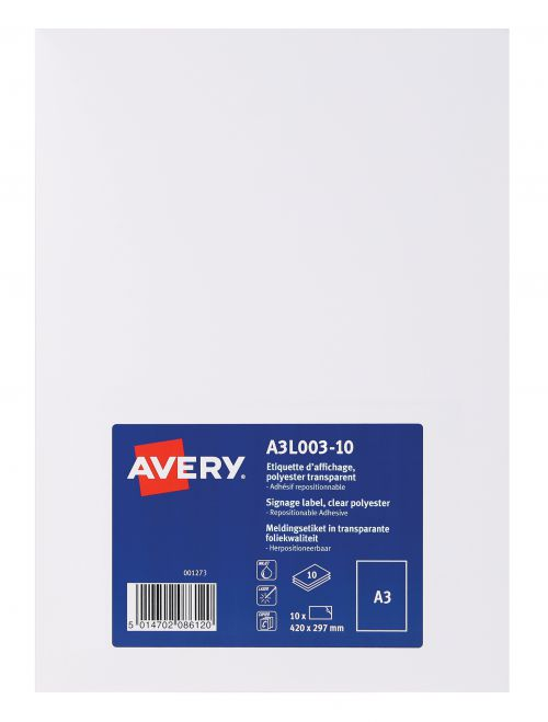 Avery A3L003-10 Clear Disp Label A3 Removable and Repos PK10