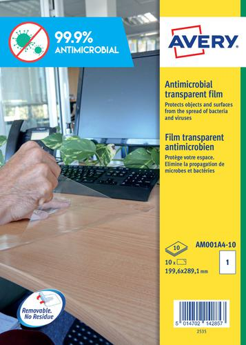 Avery Antimicrobial Film A4 Label 1 Per Sheet 10 Sheets