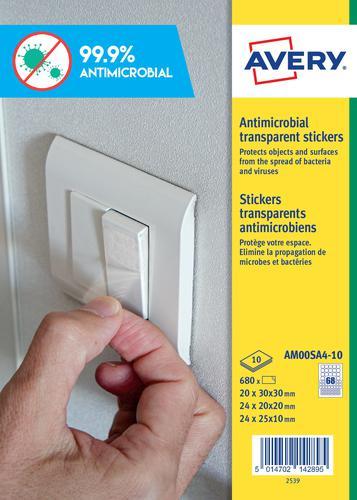 Avery Antimicrobial Film Circle 63 Per Sheet 10 Sheets
