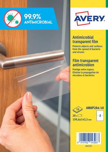 Avery Antimicrobial Film A4 Label 2 Per Sheet 10 Sheets