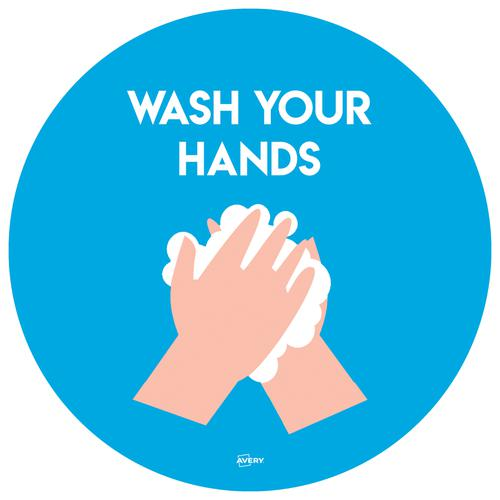 Avery Covid19 Wash Hands Circular Label 275mm Pk2