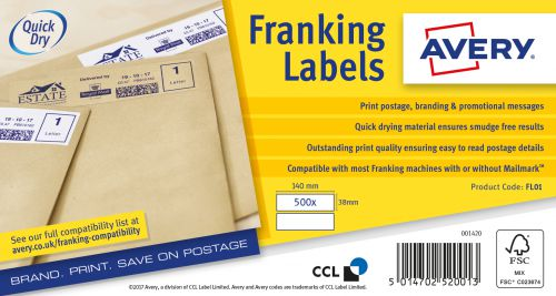 Avery Franking Labels Manual Feed 140x38 FL01 (1000 Labels)