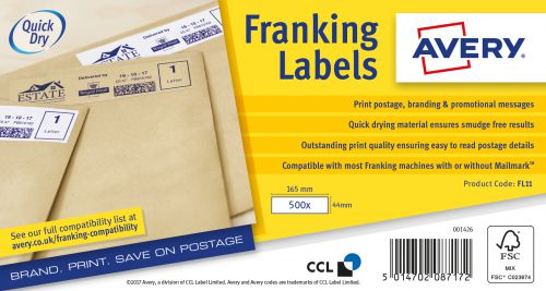 Avery FL11 Address Labels, 165 x 44mm, Permanent, 1 label Per Sheet, 1000 Labels Per Pack