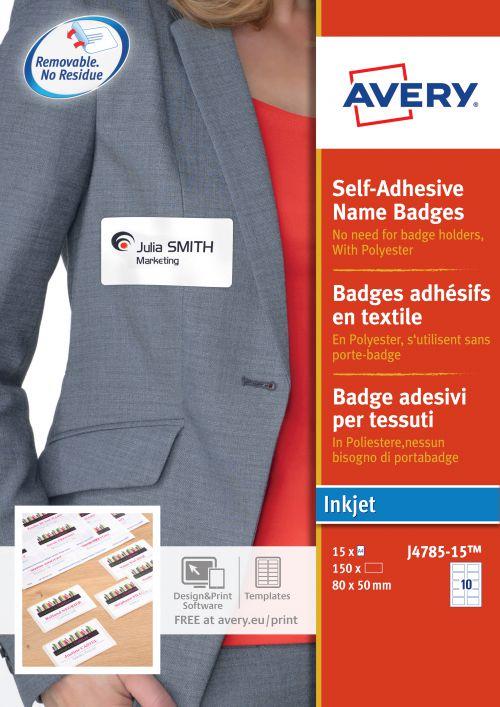 Avery J4785 Self-Adh  Badge 80 x 50mm White Pack 150