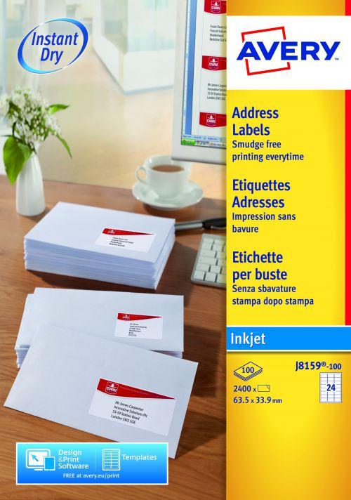Avery Inkjet Add Label 63.5x34mm J8159-100 24 p/sheet PK2400