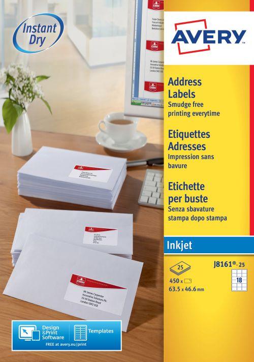 Avery Inkjet Add Label 63.5x46.6mm J8161-25 18 p/sheet PK450