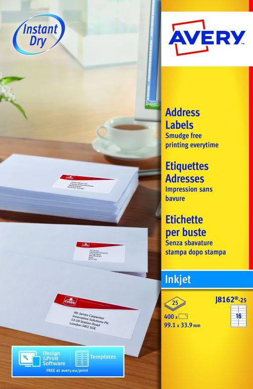 Avery Inkjet Add Labels 99x34mm J8162-25 16 p/sheet PK400