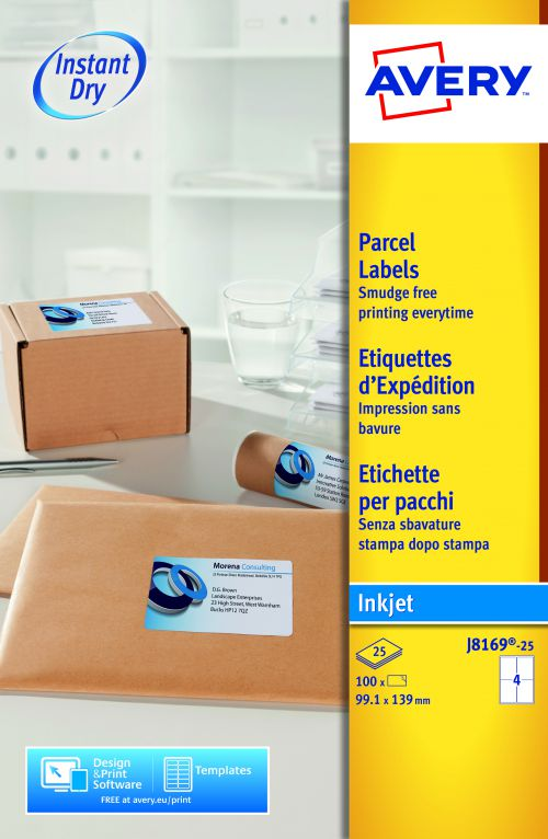 Avery Quick DRY Parcel Labels Inkjet 4 per Sheet 139x99.1mm White Ref J8169-25 [100 Labels]
