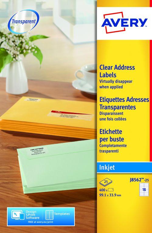 Avery Clear Inkjet Labels 99x34mm J8562-25 16 p/sht PK400