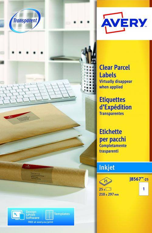 Avery Clear Inkjet Labels 210x297mm J8567-25 1 p/sheet PK25