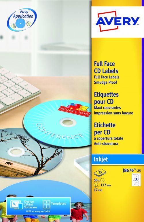 Avery CD/DVD Labels Inkjet 2 per Sheet Dia.117mm Easy Application White Ref J8676-25 [50 Labels]