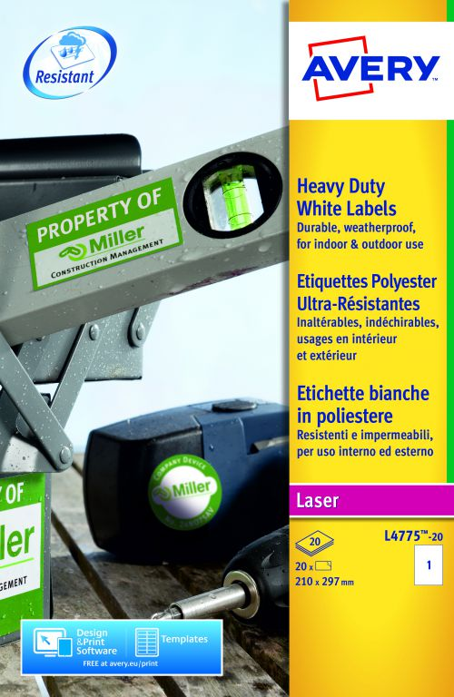 Avery Heavy Duty Labels Laser 1 per Sheet 210x297mm White Ref L4775-20 [20 Labels]