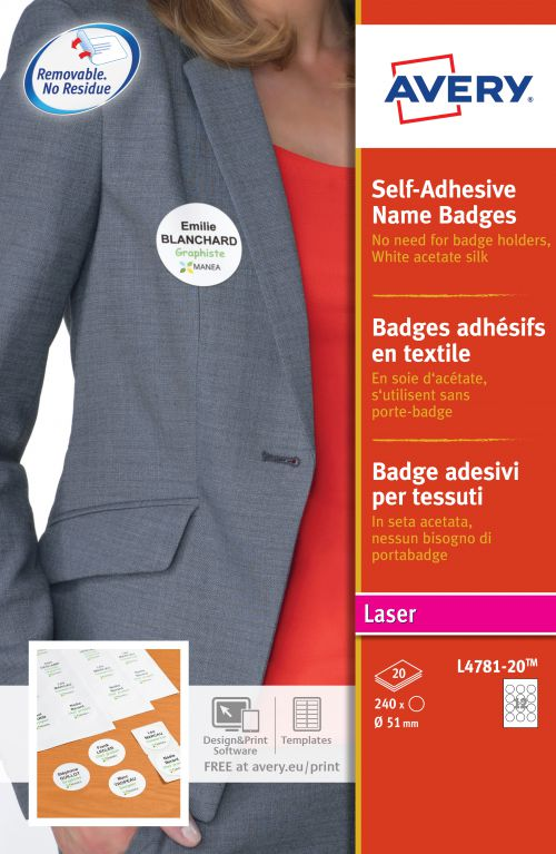 Avery L4781 Self-Adhesive Badge 51mm White Pack 240