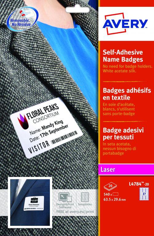 Avery Self-Adhesive Name Badge 63.5x29.6mm White (Pack 540) L4784