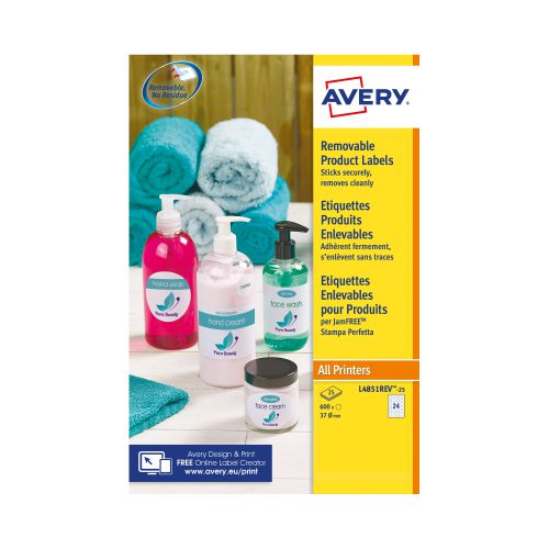 Avery Removable Labels 37mm dia 24 P/Sht Wht (Pack of 600) L4851REV-25