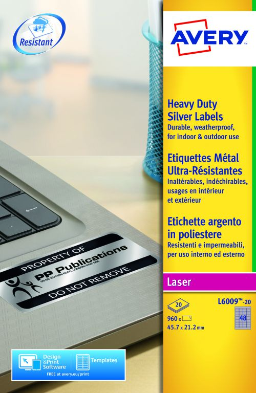 Avery Heavy Duty Labels Laser 48 per Sheet 45.7x21.2mm Silver Ref L6009-20 [960 Labels]
