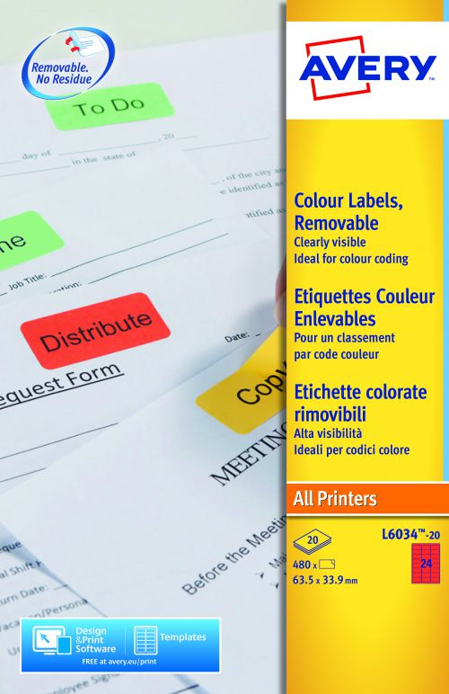 Avery Coloured Labels 63.5x34mm Red L6033-20 24 Per Sheet PK480