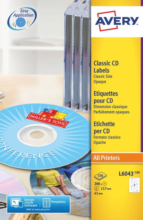 Avery Classic CD Labels 117mm DIA L6043-100 2 p/sheet PK200