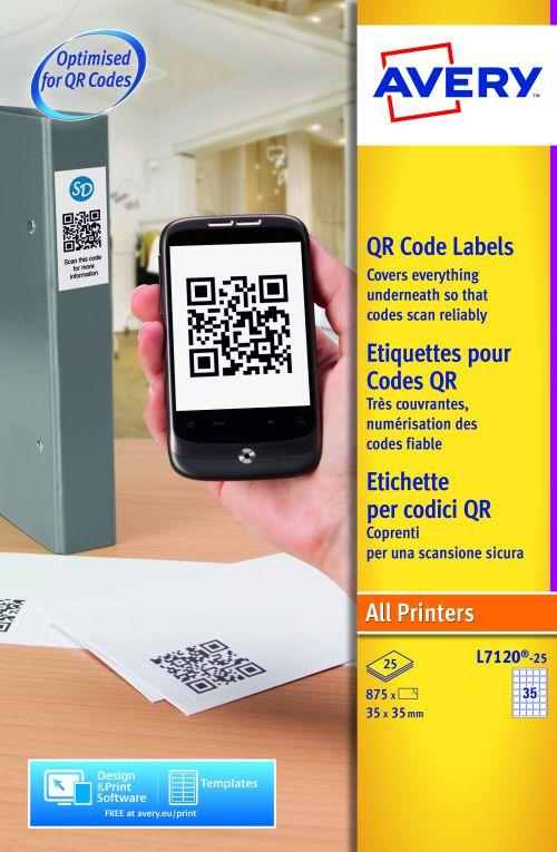 Avery QR Code Labels 35x35mm L7120-25 35 p/sheet PK875