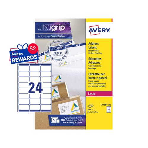 Avery Laser Address Label 63.5x33.9mm 24 Per A4 Sheet White (Pack 2400 Labels) L7159-100